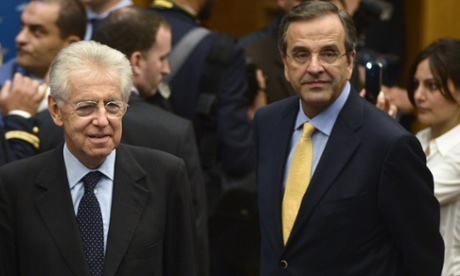 Italian Prime Minister Mario Monti (L) with Greek Prime Minister Antonis Samaras (R) during the Centrist Democrat International meeting, Rome, Italy, 21 September 2012. The event is a two-day meeting of the Centrist Democrats International group being hosted by the Italian leader.