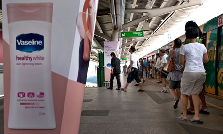 Whitening skin creams are widely advertised in Thailand