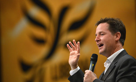 Nick Clegg takes questions at the Liberal Democrat conference