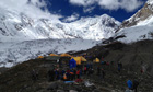 Rescuers arrive at avalanche site