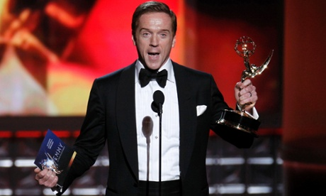A couple of scenes from the Emmys last night: Damian Lewis accepts the award for outstanding lead actor in a drama series for his role in