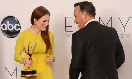 Here Julianne Moore and Tom Hanks share a moment in the press room at the Nokia Theatre in LA.