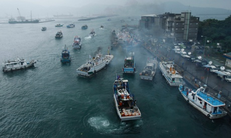 Several dozen fishing boats set out from the Suao harbor, north-eastern Taiwan, to the disputed islands in the East China Sea on Monday, 24 September. The islands, called Senkaku in Japan and Diaoyu in China, are controlled by Japan but also claimed by China and Taiwan.
