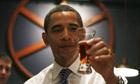 Barack Obama samples beer