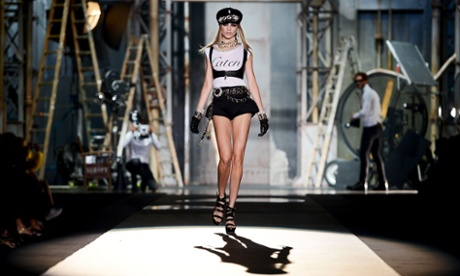 Model Cara Delevingne on the catwalk at the DSquared2 spring/summer 2013 show at Milan fashion week