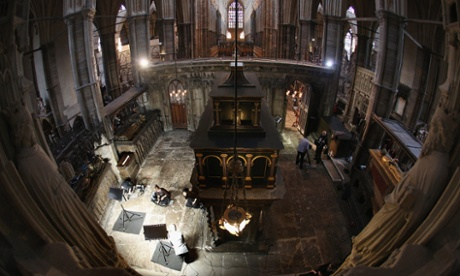 Conservation staff at Westminster Abbey clean the Cosmati pavement surrounding the tomb of Edward the Confessor and assess it for conservation. The highly decorative stone pavement is formed of small precious stones such as onyx and porphyry on a base of dark limestone, known as Purbeck marble. A shrine was erected in 1163 following the Confessor's canonisation and St Edward's body was brought in on October 13, 1269 to its new resting place.