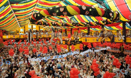 A sight for sore heads? A general view during the Sixt - Damenwiesn at the Oktoberfest beer festival at the Hippodrom beer tent in Munich, Germany