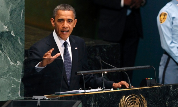 President Barack Obama addresses theUnited Nations general assembly in New York.