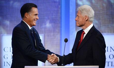 Mitt Romney and Bill Clinton