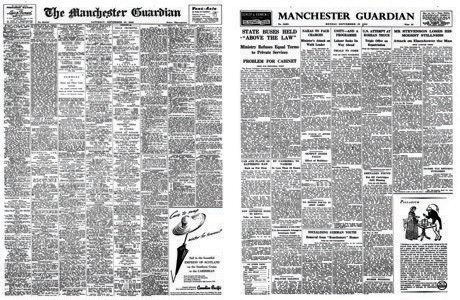Guardian front pages with ads and news, September 1952