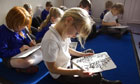 Phonics reading classes at a primary school in Devon, UK.