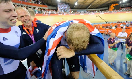 Chris Hoy after winning the men's team sprint at the 2012 Olympics