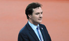 George Osborne prepares to present medals for the men's T38 400m race
