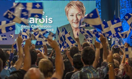 Supporters of Pauline Marois and the Parti Quebecois cheer the party's victory in Quebec's elections