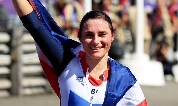 Sarah Storey after winning gold in the C5 road cycling Paralympic time trial on 5 September 2012.