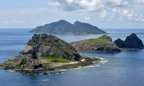 The disputed Senkaku islands in the East China Sea