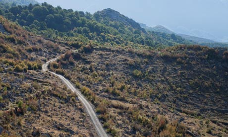 Uncertain destination ... a road traverses hills in Shkoder, northern Albania. Photograph: David Levene
