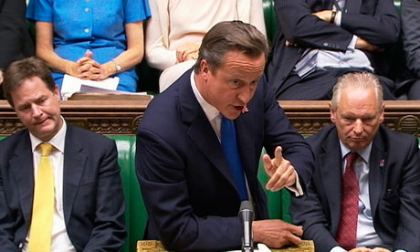 David Cameron speaks during PMQs
