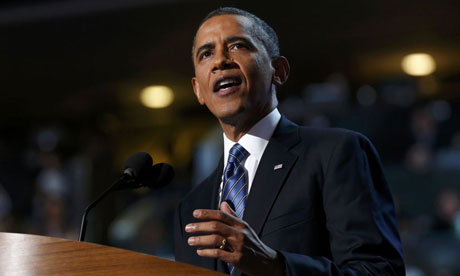 Barack Obama gives his acceptance speech at the Democratic national convention in Charlotte