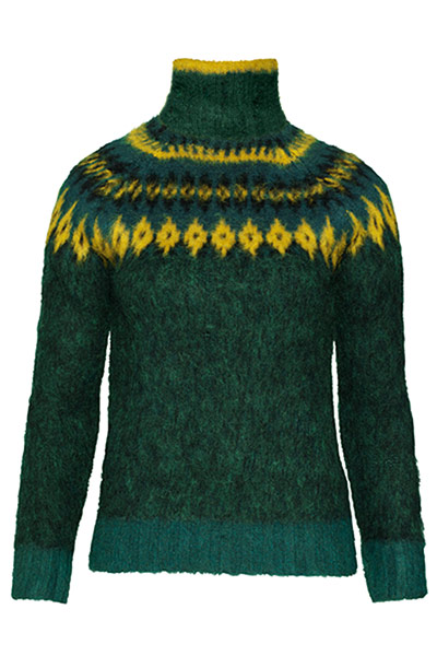Fashion blogger Bip Ling: Green wollen polo neck with design around neck