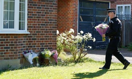 Flowers laid at Saad al-Hilli home, Claygate, Surrey
