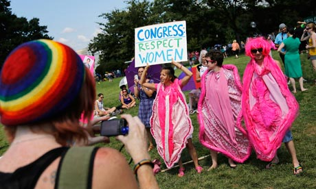 Activists in vagina costumes rally against conservative legislators in Washington, DC, 2012