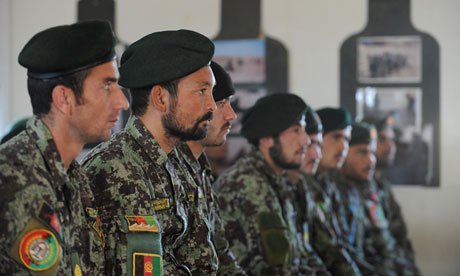 Members of the Afghan National Army attend a mortar course graduation at Camp Shorabak in Helmand