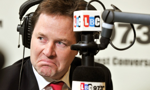 That's a great face for radio! The Deputy Prime Minister Nick Clegg listens to a question from a listener, during an LBC radio phone-in programme with host Nick Ferrari, at the station's studios in central London. In an uncomfortable moment Clegg was confronted by a former Liberal Democrat councillor who told him he had torn up his party membership card because he was ashamed of what they were doing in Government.