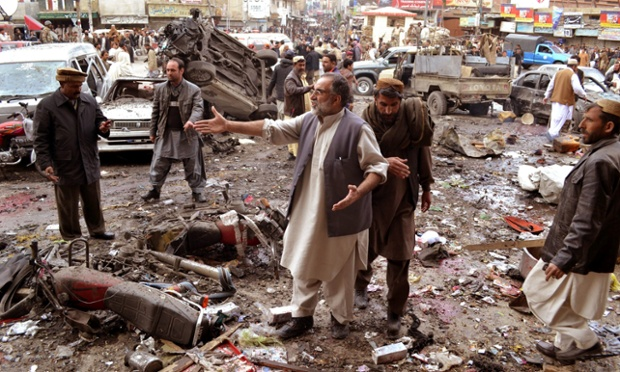 Scenes of chaos at the site of a bomb blast in Quetta, the provincial capital of Balochistan province in Pakistan. At least 11 people were killed and more than 50 injured when a bomb planted near a paramilitary vehicle exploded. Quetta and other parts of Balochistan have been peaceful for several years, but attacks on security forces have increased in recent months.