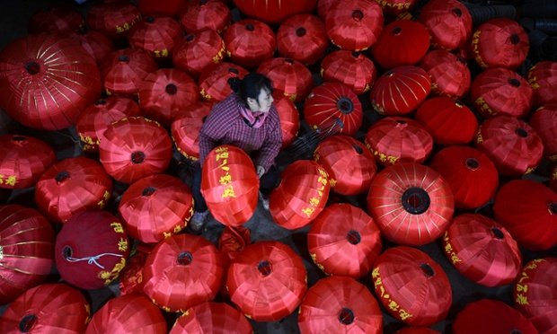 Red lanterns are prepared for the approaching Lunar New Year in Chengdu, Sichuan Province, China.