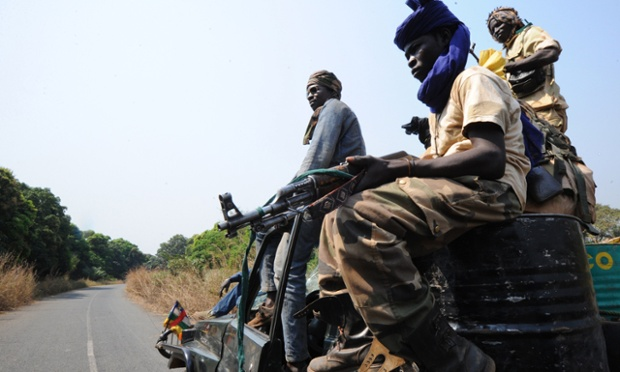 Seleka rebels in the Central African Republic are photographed on patrol near the city of Damara, close to where soldiers of the multinational force of central African states are stationed, to create a buffer zone between rebels and troops loyal to the current government.  Meanwhile peace talks to resolve the rebel crisis have been suspended with no settlement in sight. The rebels are demanding that President Francois Bozize resign and be brought before the International Criminal Court for war crimes.