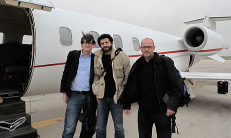 Alan Rusbridger, Ghaith Abdul-Ahad and Peter Beaumont after Ghaith is released in Libya