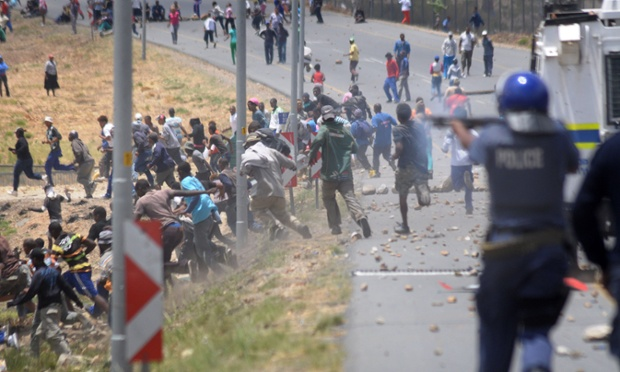 striking farm workers in South Africa