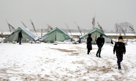 Syrian refugees at a camp in the in the Bekaa valley, Lebanon