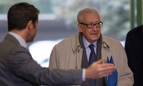 Lakhdar Brahimi, international mediator for Syria, arriving at the UN's European HQ in Geneva for talks with top US and Russian envoys