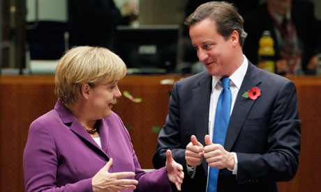David Cameron and Angela Merkel in Brussels