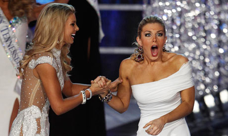 Miss New York Mallory Hytes Hagan, right, celebrates her win with Miss