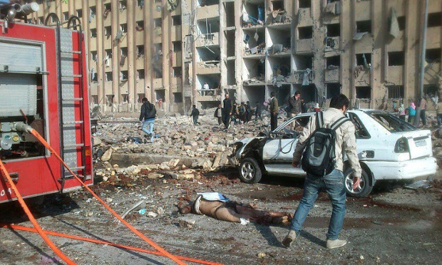 A picture released by the Syrian Observatory for Human Rights purports to show the scene after an explosion at the University of Aleppo on 15 January 2013. It cannot be independently verified.