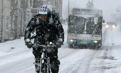 Travellers battle through snow in Guisborough, north-east England. The