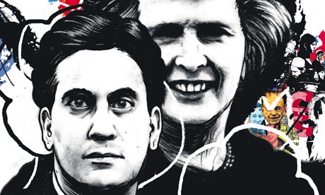 Ed Miliband and Margaret Thatcher artwork