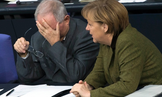 Has Angela Merkel just told her finance minister, Wolfgang Schaeuble, that he has to sit through Cameron's speech to the EU tomorrow? The pair are at a session of the lower house of parliament in Berlin, Germany