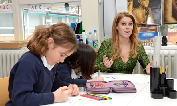 Princess Beatrice with pupils at the Berlin British school in Germany. Princesses Beatrice and Eugenie have been named ambassadors for Britain and have launched a year-long campaign to promote the best of British. Read the story here.