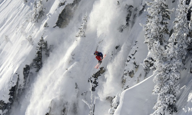 Vertical drop: Sam Favret of France glides on the wide face of Cirque de Fond Blanc at the Les Arcs ski resort, in the French Alps