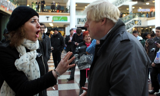 And another thing: the mayor of London, Boris Johnson, hears the views of a member of the public during a walkabout in Croydon, south London