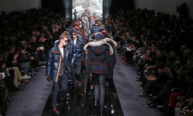 Cosy catwalk: Models walk the runway during the Kim Jones for Louis Vuitton Men Autumn/Winter 2013 show as part of Paris Fashion Week.
