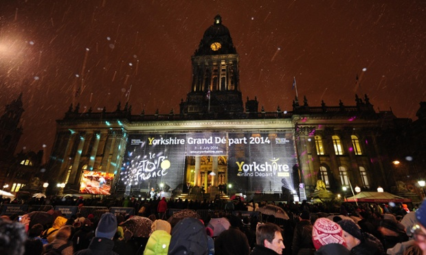 Crowds gather outside the Town Hall in Leeds following the 2014 Tour de France Yorkshire route announcement.