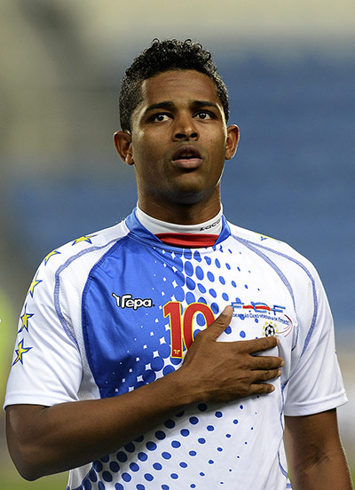 African Nations: Cape Verde's forward Heldon listens to his national anthem