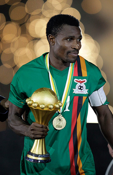 African Nations: Zambia's Christopher Katongo holds the African Cup of Nations trophy
