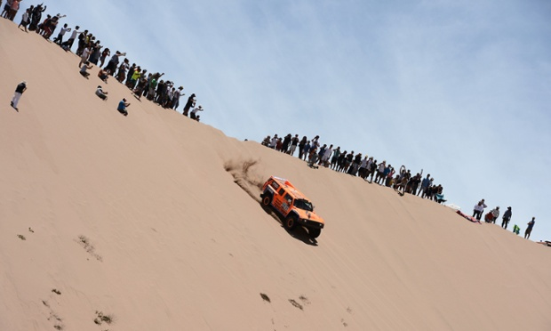 US Robby Gordon steers his Hummer during the Stage 12 of the 2013 Dakar Rally between Fiambala in Argentina and Copiapo in Chile. The rally is taking place in Peru, Argentina and Chile from January 5 to 20.