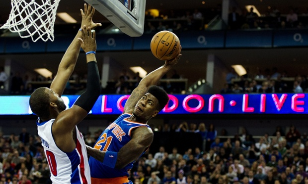 New York Knicks' guard Iman Shumpert takes it to the rim during their 102-87 victory over the Detroit Pistons at London's O2 Arena. FYI he missed the dunk. DENNIS/AFP/Getty Images